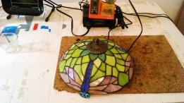 Kurs dla zaawansowanych i śerdniozaawansowanych lampy witrażowe - lampa ważki zaprojektowana przez kursantkę