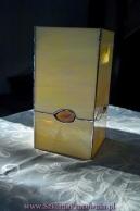 Lampa/ lampion witrażowy z kamieniami