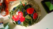 """Lampa kopułowa tulipany - zaprojektowana i wykonana przez kursantkę podczas kursu """"Lampy wtechnice Tiffany`ego"""""""