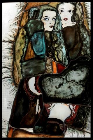 NA SPRZEDAŻ- Transpozycja malarstwa Schiele na szkło - Witraż ołowiany