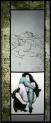 Rysunek i obraz kobiety wg. Schiele i czarna kotka. Wszystko oprawione w bordiurze w winogorna
