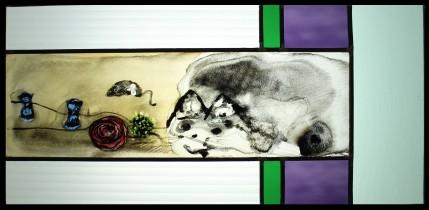 witraż klasyczny -kocie zabawki/ cat toys