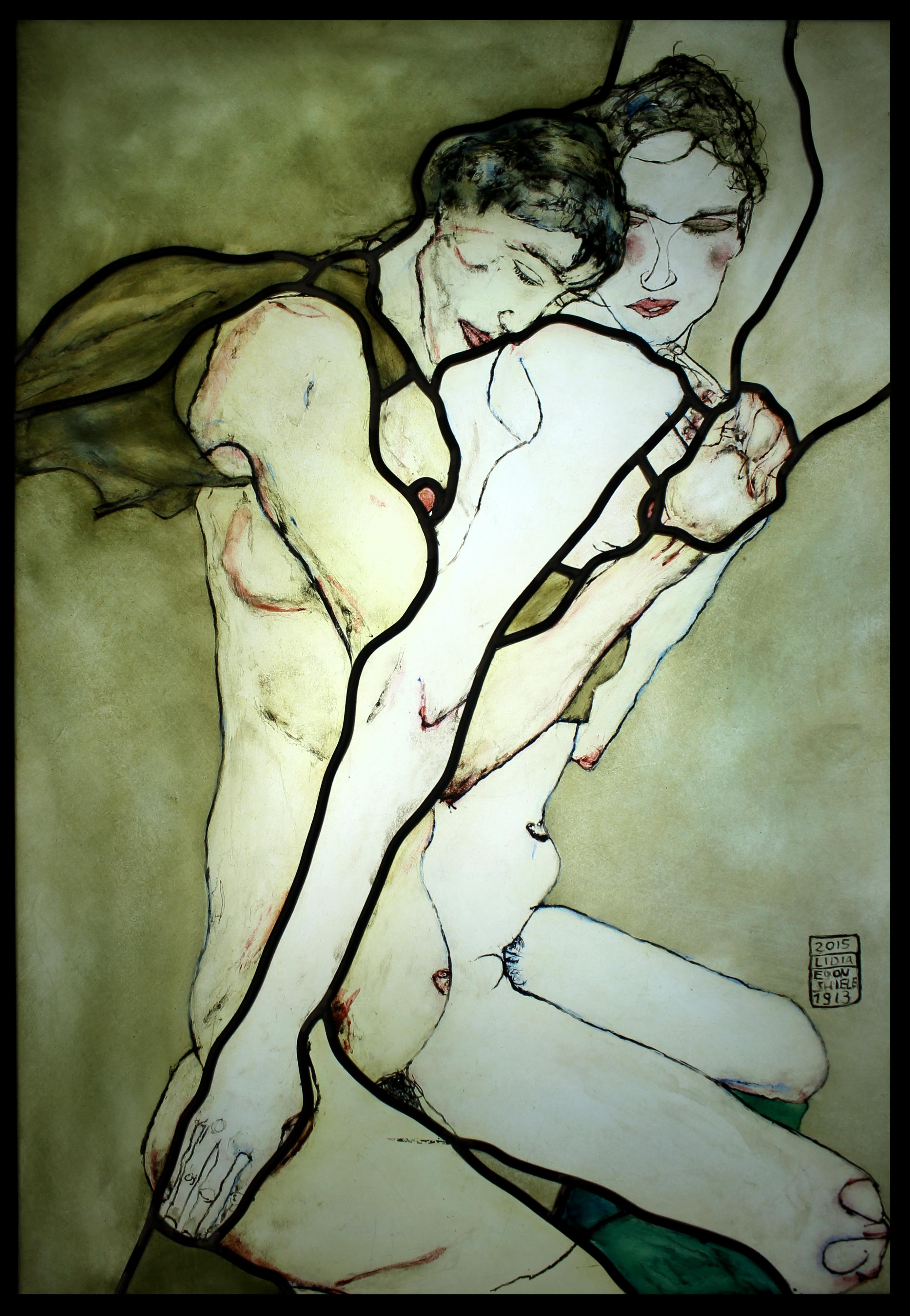 Kochankowie - transpozycja malarstwa Schiele