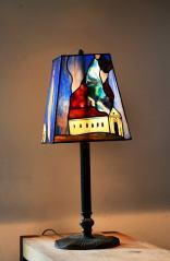 Lampa panelowa Św. Florian. Technika witrażu Tiffany połączona z malaturą tradycyjną.
